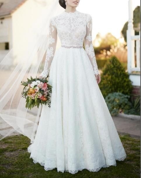 A Line White Full Lace Long Sleeve Wedding Dress,Formal Elegant Romantic Wedding Gown 3
