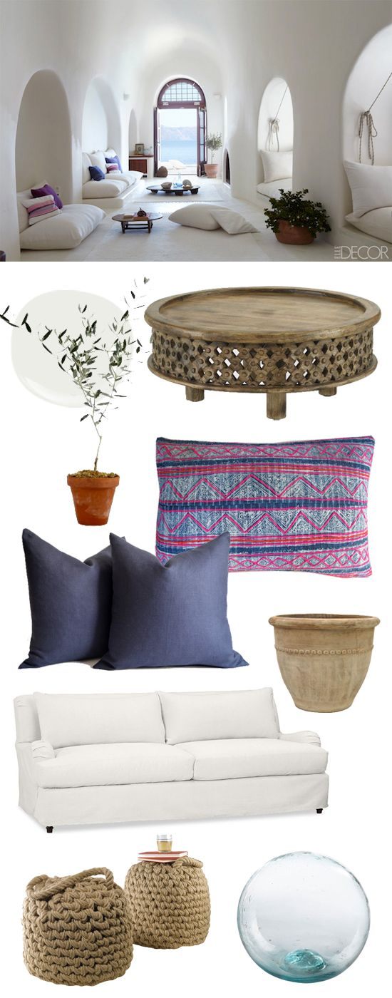 No summer vaca for you? @ELLE Magazine (US) DECOR shows us how to steal the style of Santorini