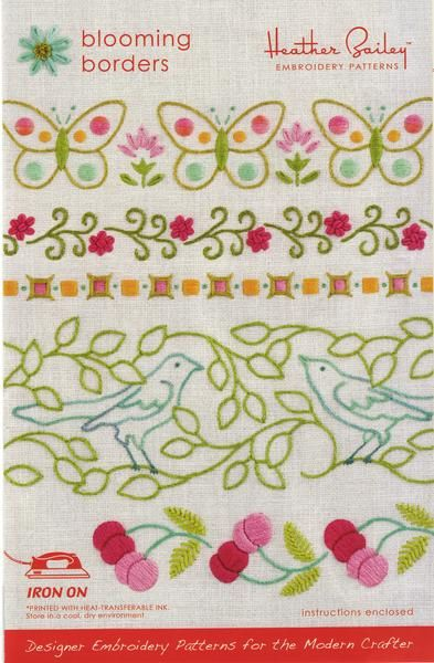 Embroidery Pattern transfer made simple with this beautiful Blooming Borders pattern from Heather Bailey. No need to mess with transfer pens, light boxes etc to
