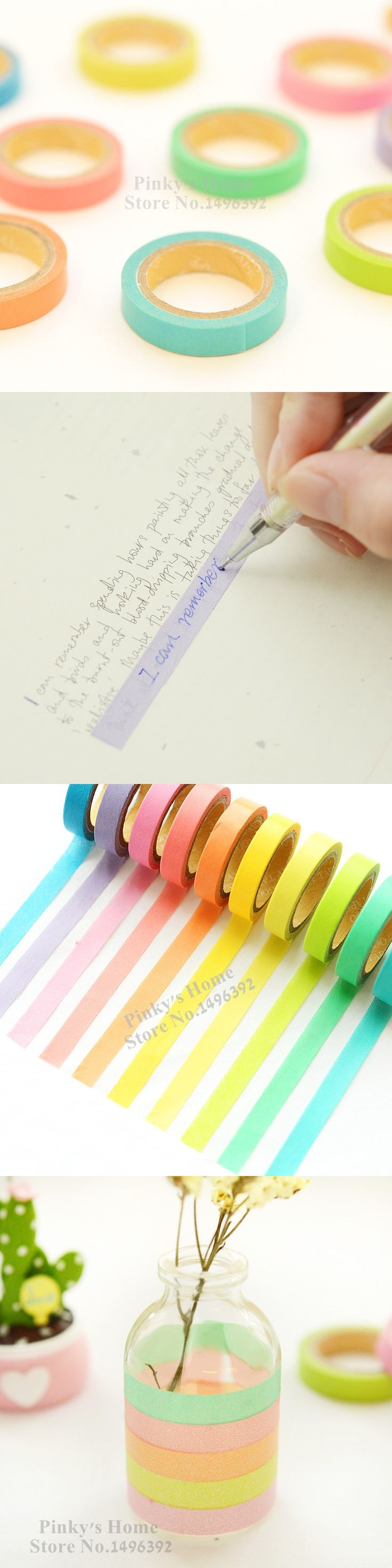 DIY Rainbow Washi Sticky Paper Masking Adhesive Tape Writing Dentelle Scrapbooking Masking Tape Lot