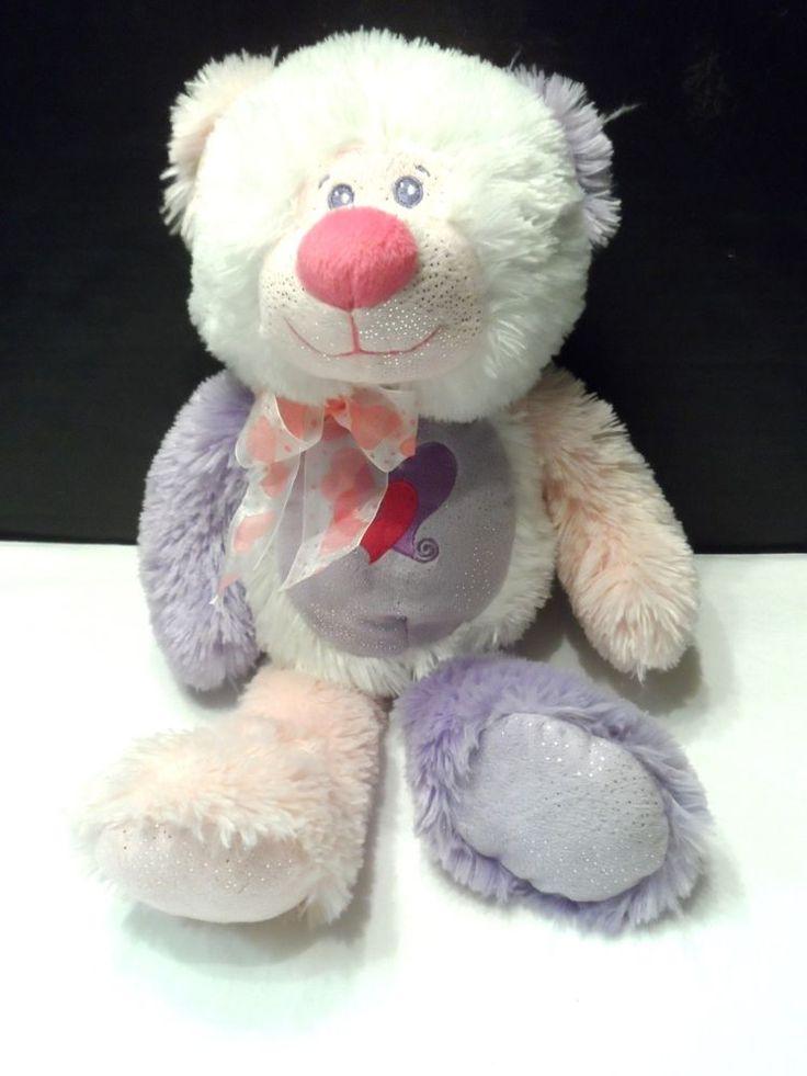 "Plush Teddy Bear Sparkle Stuffed Animal 17"" Pink Purple White The Petting Zoo #ThePettingZoo"