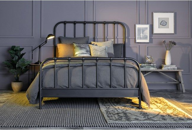 Knox Queen Metal Panel Bed Bedroom Furniture Layout Discount