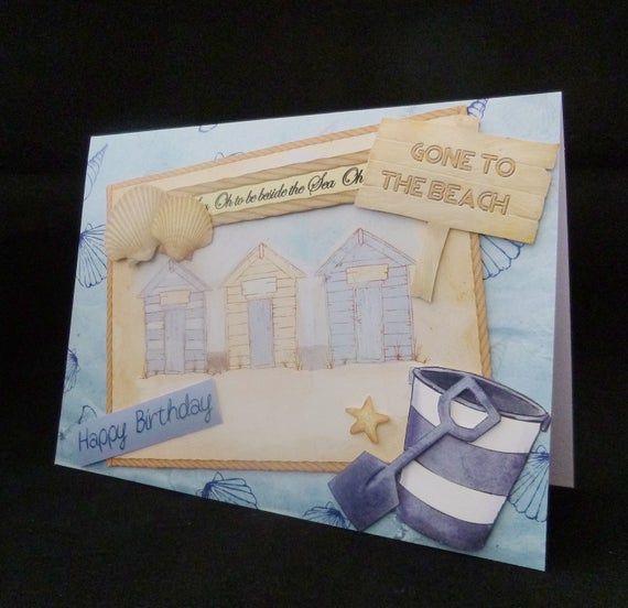 Seaside Birthday Card 3d Beach Huts Card Handmade In The Uk Etsy Seaside Birthday Birthday Cards Cards