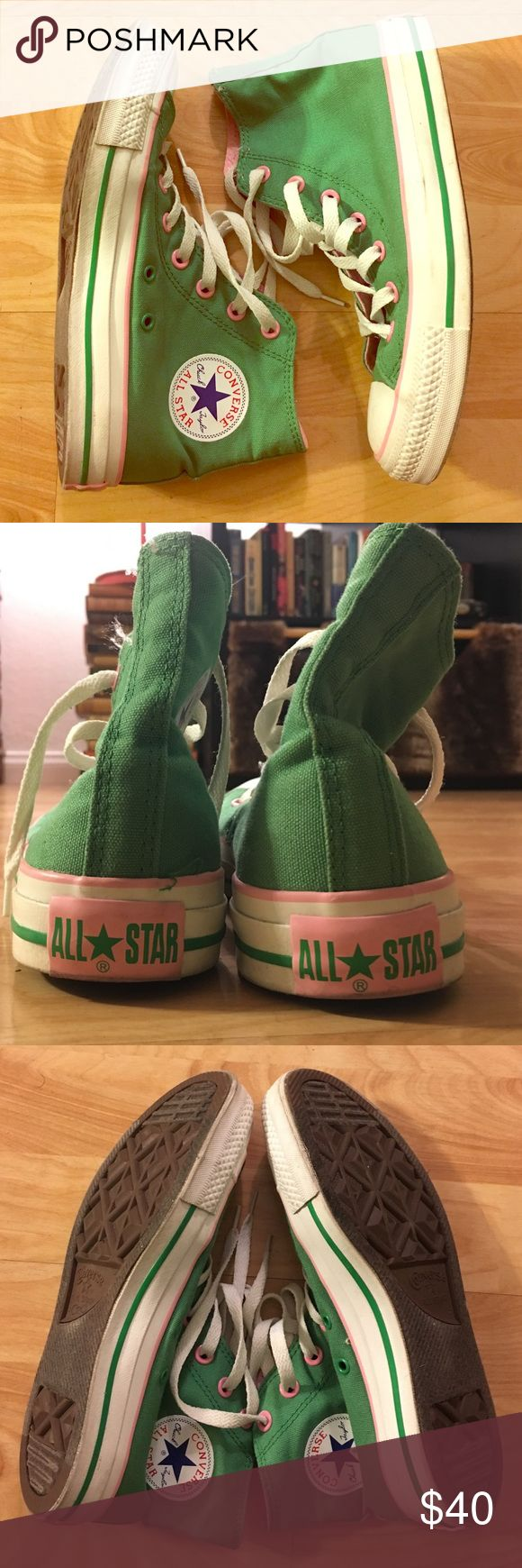 Green & Pink high top Converse Chuck Taylor's These green and pink high top converse sneakers are CUTE AS ANYTHING! Green throughout the body, with pink piping, grommets, and lining. I bought them for a special event and only wore them once! In fantastic condition and fit like a DREAM! Women's size 7, men's size 5. Great addition to any Chuck Taylor addicts collection! Reasonable offers considered! Converse Shoes Sneakers