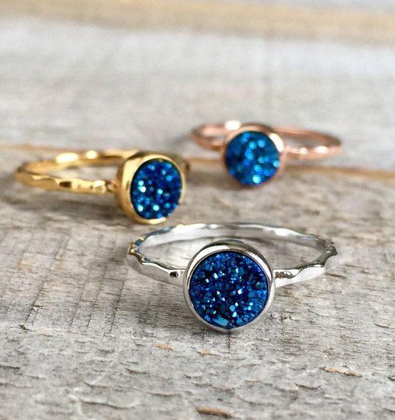 Tiny Blue Druzy Ring Titanium Druzy Quartz Rose Gold Ring