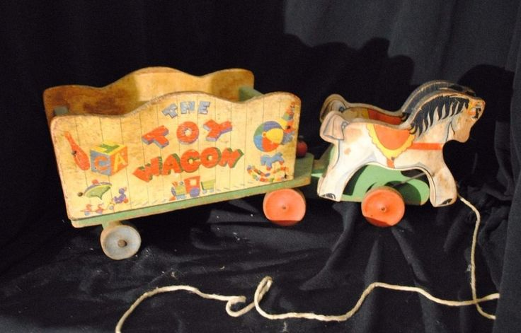 Vintage 1940s Fisher Price No 171 Wooden Horse and Cart Pull Toy - The Toy Wagon #FisherPrice