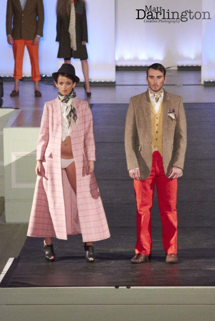 Robbie Savage red trousers, tweed jacket & ladies pink tweed overcoat
