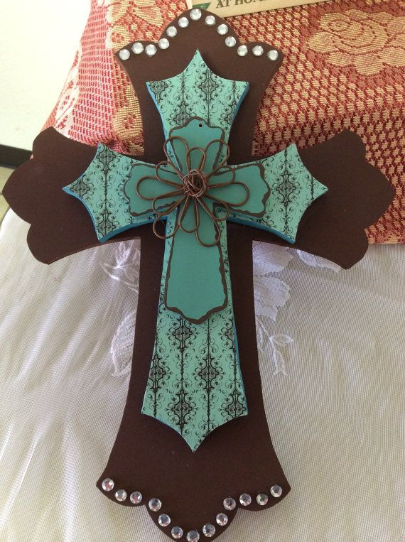 12 Brown and Teal cross by RFMCYouthGroup on Etsy, $35.00
