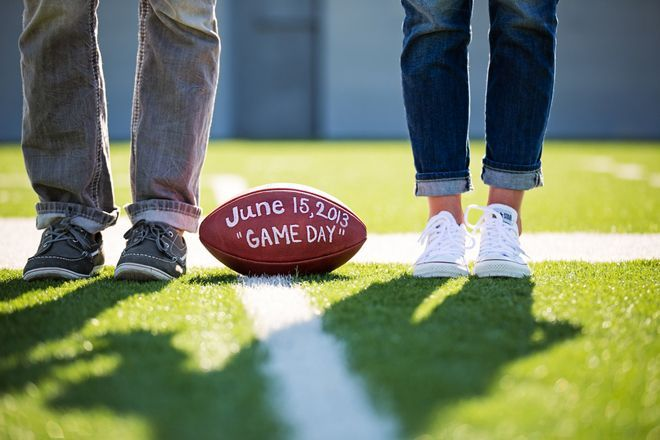 Football themed photo-save-the-date ~ Dyanna Joy Photography sports save the dates, baseball save the dates #wedding #sports