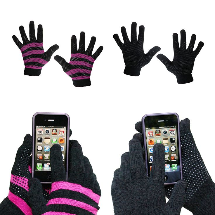 Evelots Ladies Smartphone Gloves Form Fitting & Comfortable, 2 Pair S/M Or L/XL