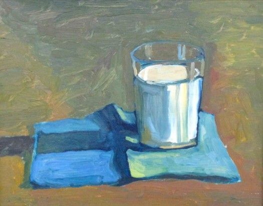 """""""Milk, No Cookies"""" Just a simple study of a glass of milk.  Goes with the Chocolate Cake."""