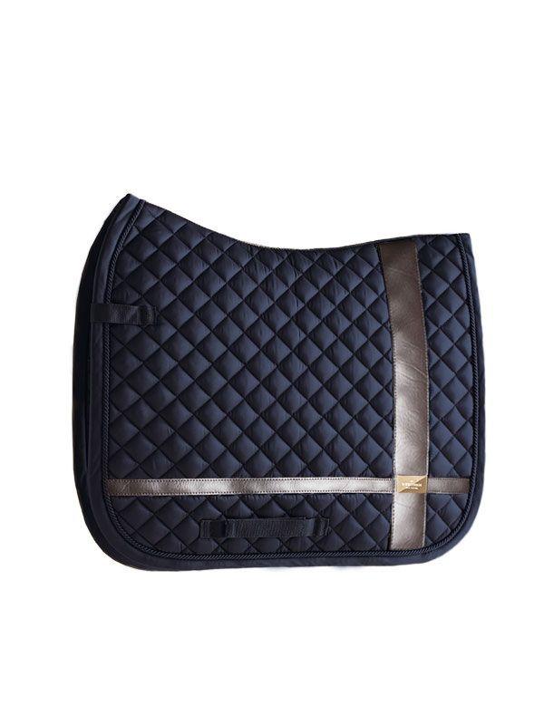 Equestrian Stockholm dressage saddle pad with leather details