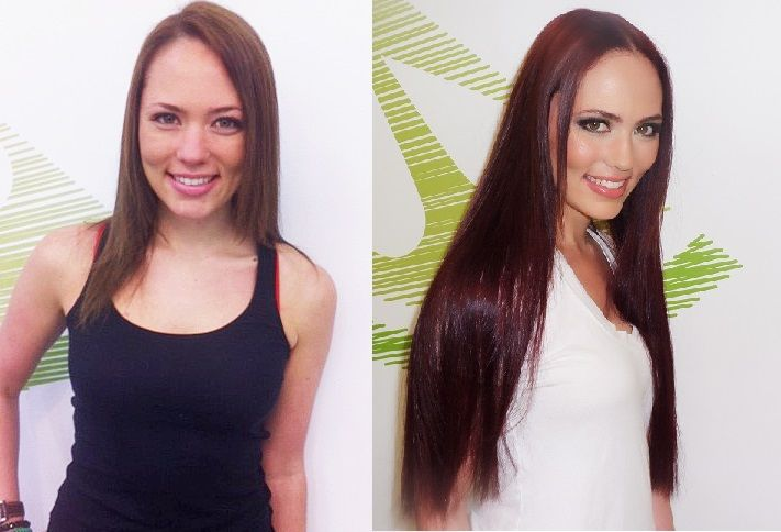 Great Lengths Hair Extensions and red hair colour makeover by Anya Ergas.