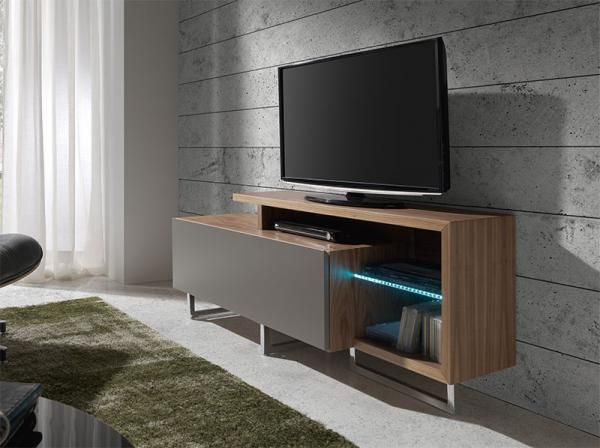 Brest 1 Door Contemporary TV Unit in Ivory or Taupe