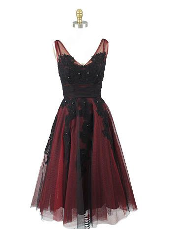 1950s Style Red Black Tulle Tea Length Party Dress - 50S inspired party dresses - short red bridesmaid dresses