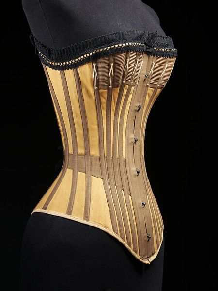 """Corset Place of origin: England, Britain (possibly, made) Germany (possibly, made) Date: ca. 1890 (made) Artist/Maker: Unknown (production) Materials and Techniques: Cotton twill, machine-made cotton lace, lined with cotton twill, boned and metal"""