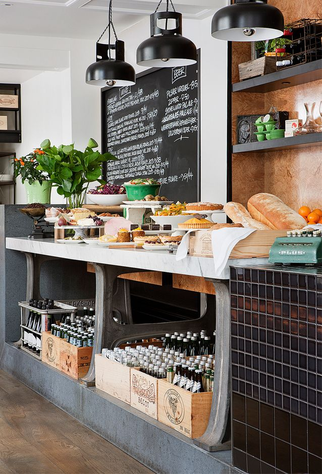 Like the bottles in crates under the counter. Also, great to display all of the pastries on the retail counter.