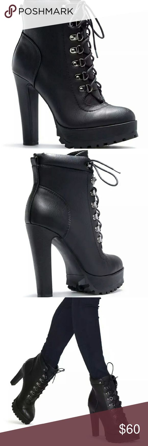 "SHOEDAZZLE MOTO BOOTS NWT Aziza black boot, faux leather, heel height 5"", platform height 1.25"", adjustable front laces. Height with comfort. Size 8.5 Shoe Dazzle Shoes Combat & Moto Boots"