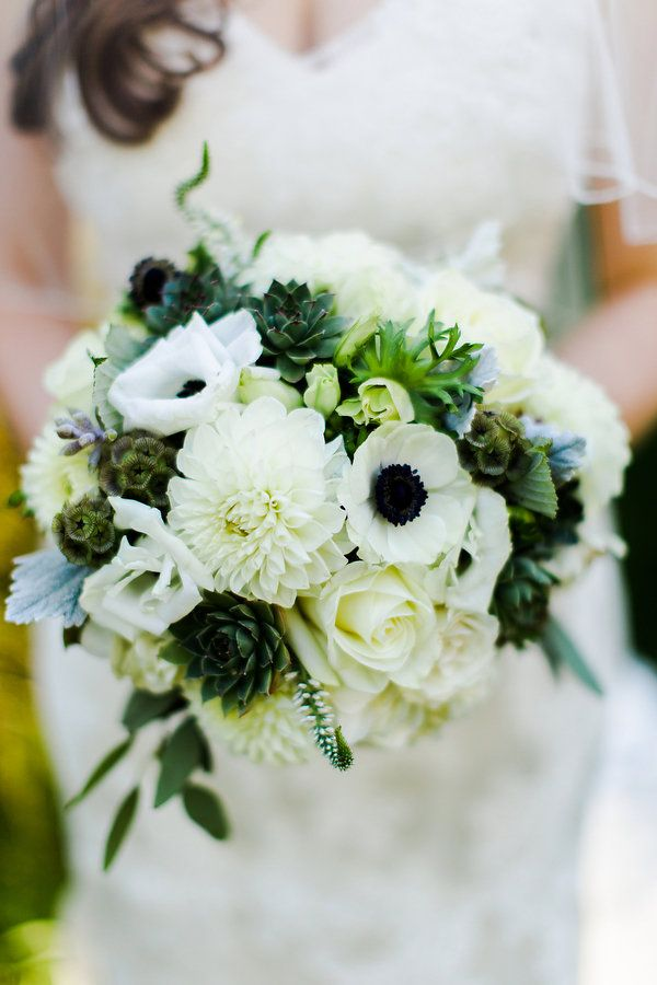 Anemone Wedding Bouquet With Succulents