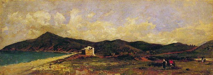 Un día de verano en Marruecos, Data desconocida. Óleo sobre lienzo, 25.4 × 66 cm. Colección Privada.