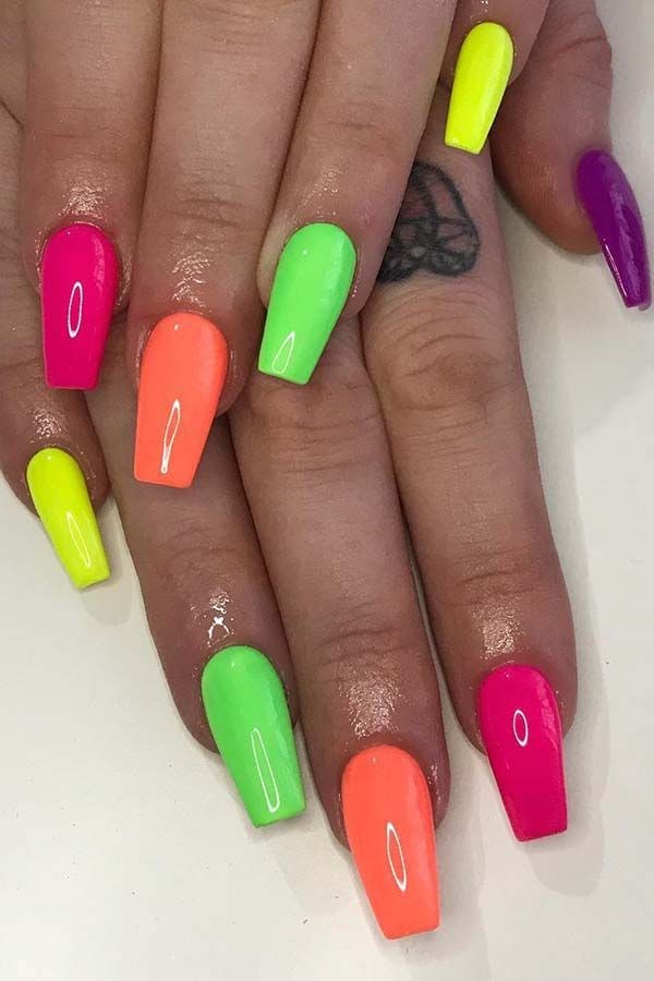 23 Colorful Nail Art Designs That Scream Summer Neon Nails Nail
