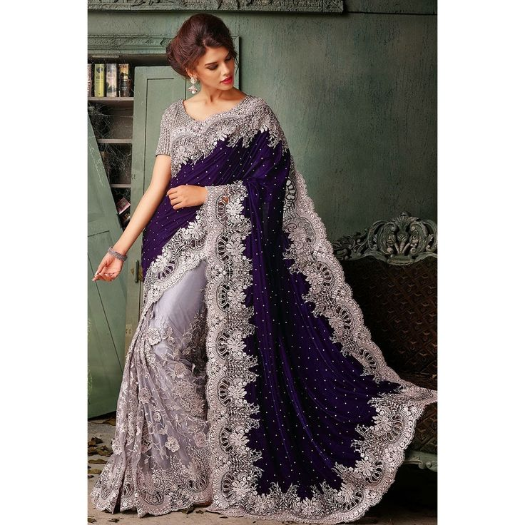 Purple Velvet Saree with Art Silk Blouse