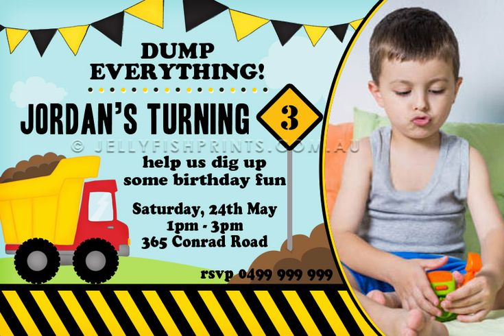 Construction Invitations for a kids birthday party. include your childs photo