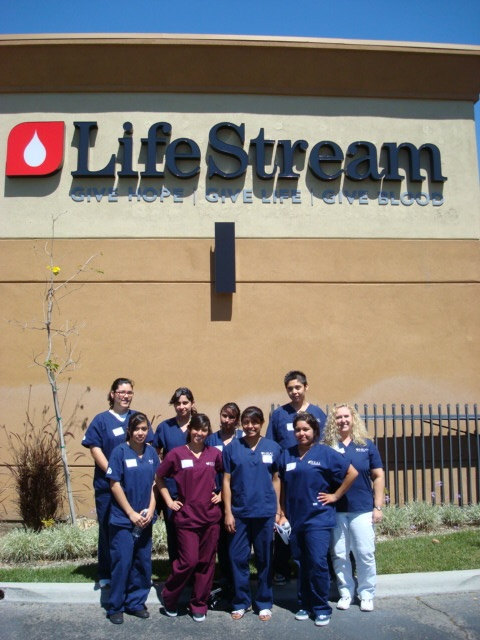 Cathedral City High School HEAL students tour the LifeStream Donor Center and laboratory.