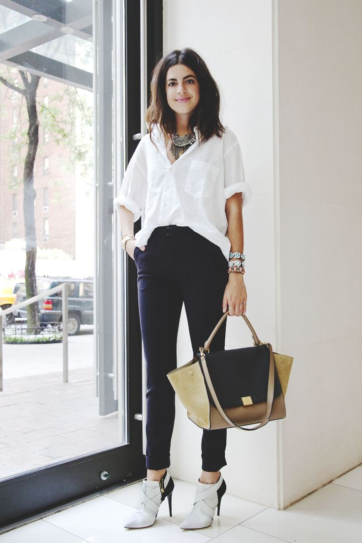 Leandra in Narciso Rodriguez heels, Land's End blouse, rag & bone pants, Dannijo necklaces and bracelets and a  Celine trapeze tote.