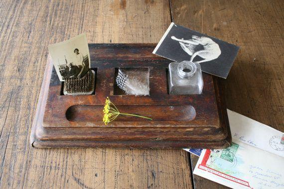 Wooden Stationery Tray Desk Organiser Display or by FoundByHer
