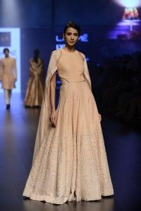 Blush Pink Leaf Embroidered Gown and Cape Set  #Lakmefashionweek2016 #sva #gown…
