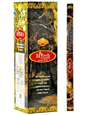 Η SAC προσφέρει μια πολύ μεγάλη επιλογή σε στικάκια από την Ινδία . Αυτά είναι διαθέσιμα σε συσκευασίες των 20 κομματιών. To Myrrh είναι μέρος της κλασικής σειράς.