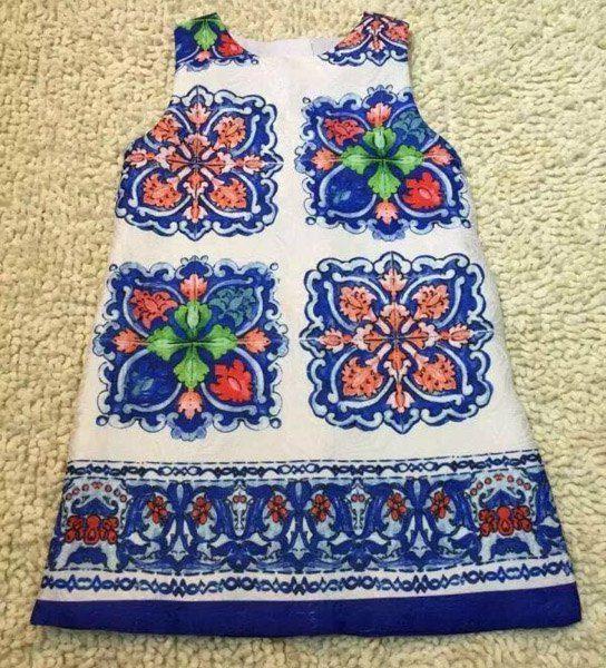 $18.64 Stylish Sleeveless Printed Round Neck Dress For Girls