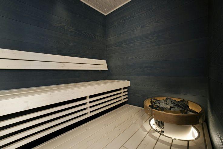A black #laatupaneeli #saunapanel is a classic and always stylish choice. Check all the other colour and material options at www.laatupaneeli.fi #interiorpanels #rotolapukkila #sauna #bastu #saunapaneeli #sisustuspaneeli #bastupanel #inredningspanel #interior #interiorinspiration #sisustusvinkit #saunaideat