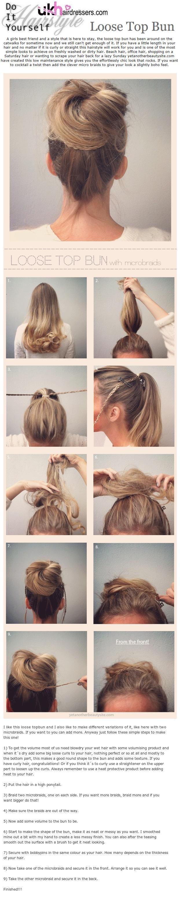 DIY Hairstyles Loose Top Bun... OMG just tried this DIY and it is so cute