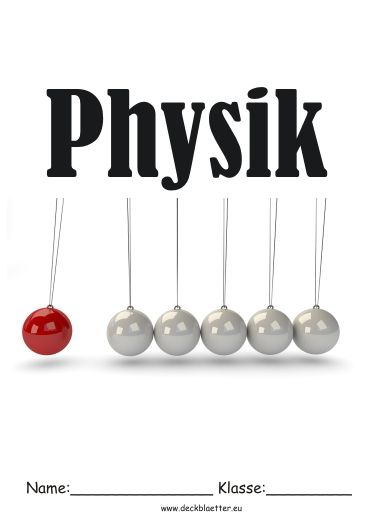 Deckblatt Schulfach Physik