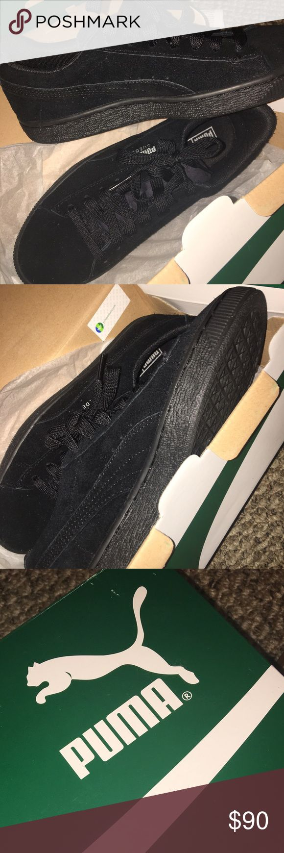 NEW PUMAS (BLACK) All black suede puma sneakers! black soles, deadstock ( never worn) Puma Shoes Sneakers