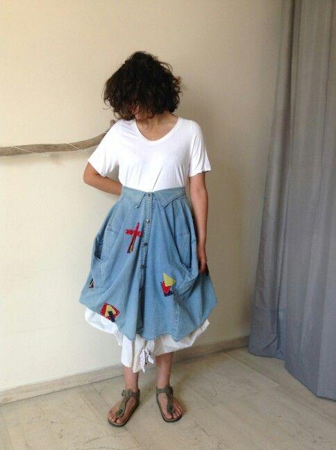 Jean shirts as a skirt...