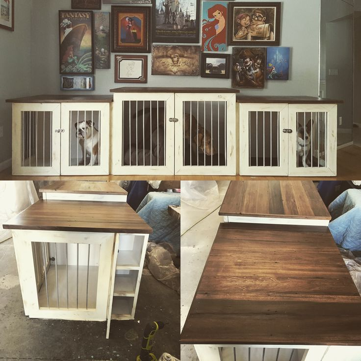 We Just Finished And Delivered This 11u0027 Long Dog Crate Console With Hidden  Storage Compartments