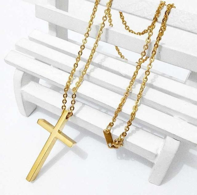 Fashion gold/rose gold/silver big chunky jesus cross necklace pendant hip hop jewelry stainless steel chain necklace