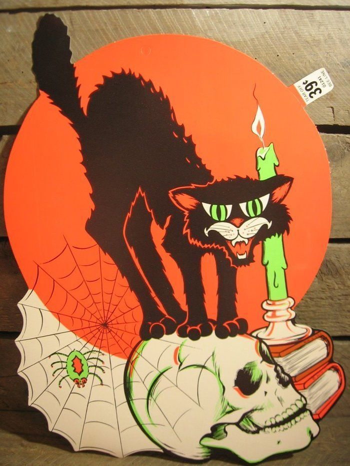 vintage beistle halloween die cut door sign black cat spider skull rare nos old - Beistle Halloween Decorations