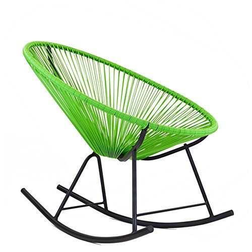 Midcentury Modern Ixtapa Tri-color Outdoor Full Sized Patio Rocking Chair in Green