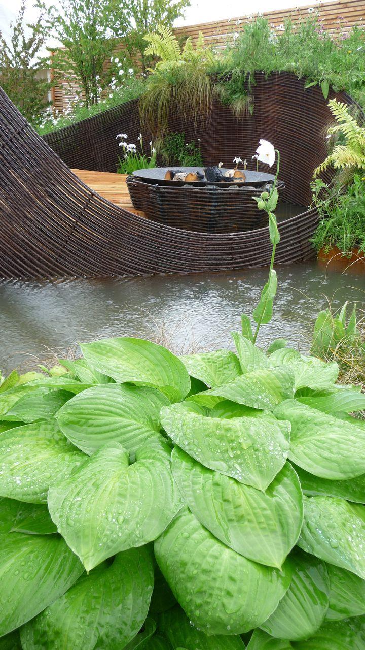 woven rebar and hostas from Water Gems' show garden at Gardening Scotland 2010