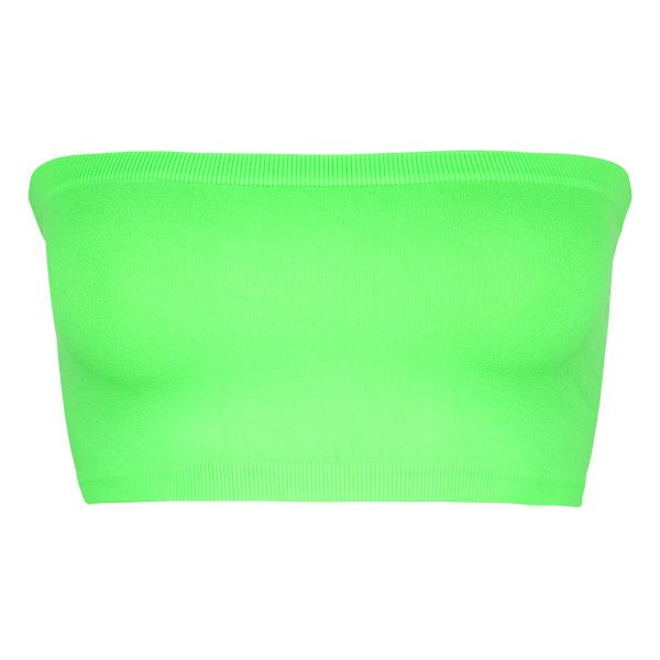 FULL TILT Seamless Bandeau ($4.97) ❤ liked on Polyvore featuring tops, bandeau, bandeaus, bra, neon green, bandeau bikini top, bandeau tops, seamless bandeau top, neon green top and full tilt tops