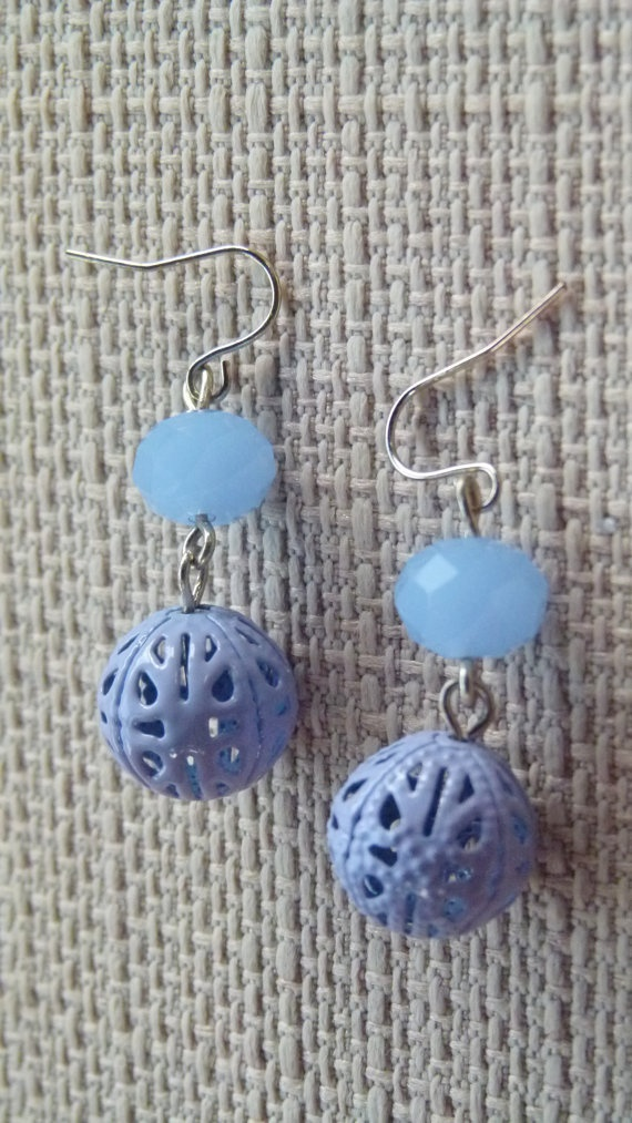 Sale  Earrings  Blue quarts and filigree drop by Retrobeadbling, $8.00