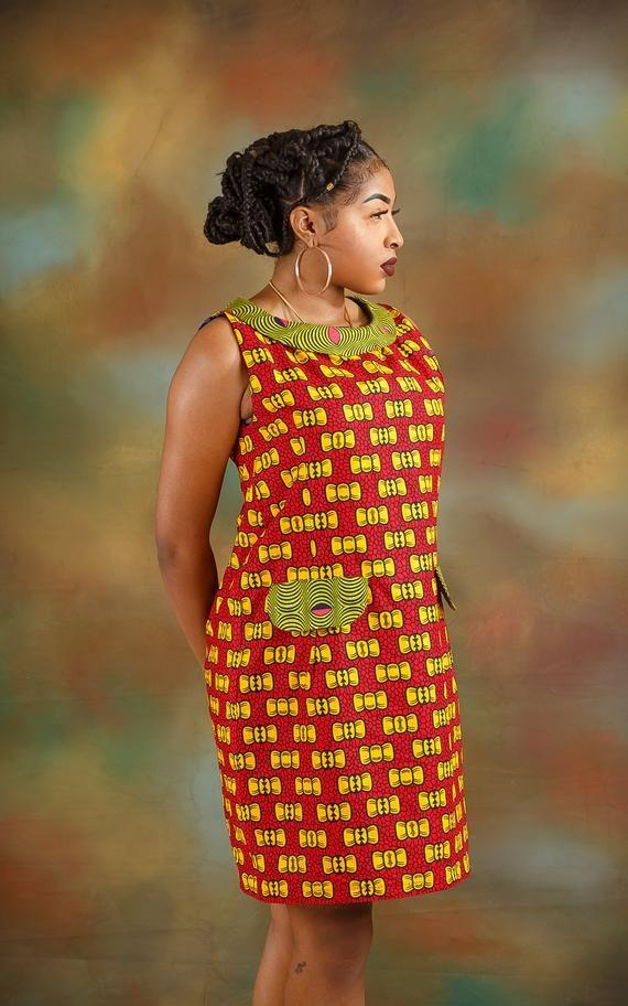 Ankara collar dress, Africa print dress, Ankara dress,Ankara clothing, Ankara style, women's clothes,African clothing