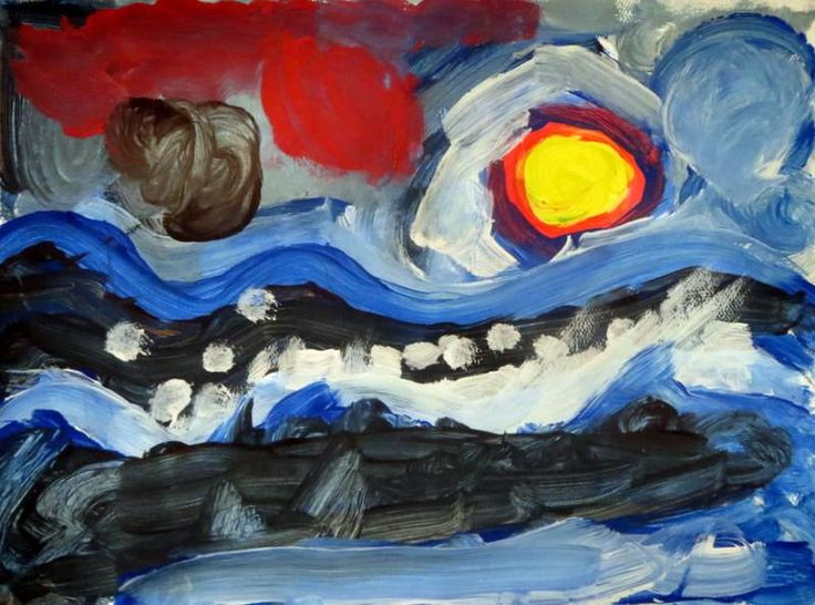 Artist of the Week Keegan Legg, Mr. Young, 2nd Grade, Stormy Seascape
