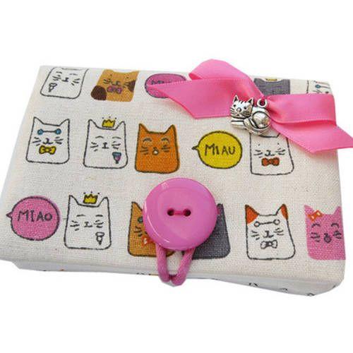 "Etui / porte-cartes "" petits chats rigolos "" tissus kawaii rose"