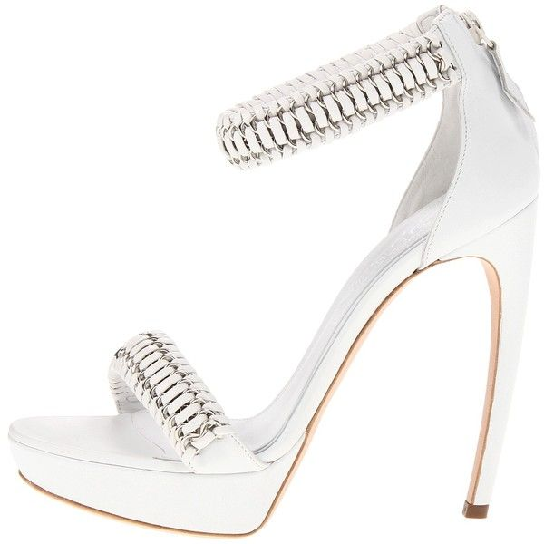 Alexander McQueen 314778WARA4 9065 (Opt. White/White) High Heels (€670) ❤ liked on Polyvore featuring shoes, sandals, heels, platform heel sandals, high heeled footwear, high heel platform sandals, white strappy sandals and strappy high heel sandals