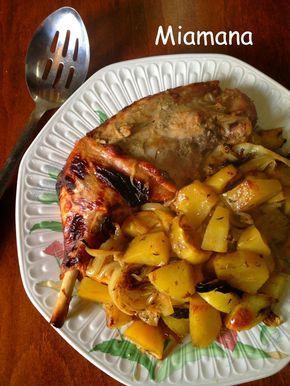 Bonjour! Une recette toute simple mais gouteuse aujourd'hui: la cuisse de dinde, enrobée de préparation aromatique, cuit tranquillement au dessus d'un plat de pommes de terre pour que chaque élément bénéficie à l'autre: le bouillon des pommes de terre...